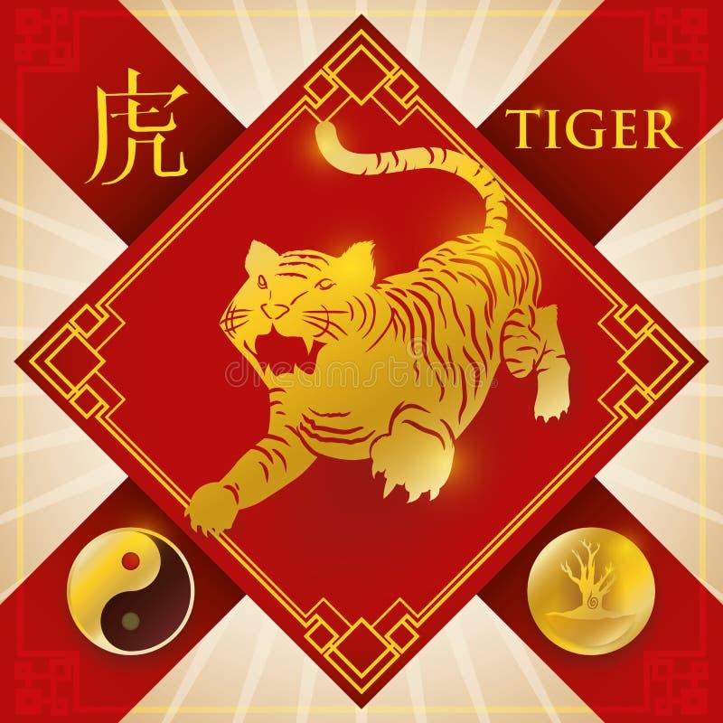 Urok z Chińskim zodiaka tygrysem, Drewnianym elementem i Yang symbolem, Wektorowa ilustracja ilustracji