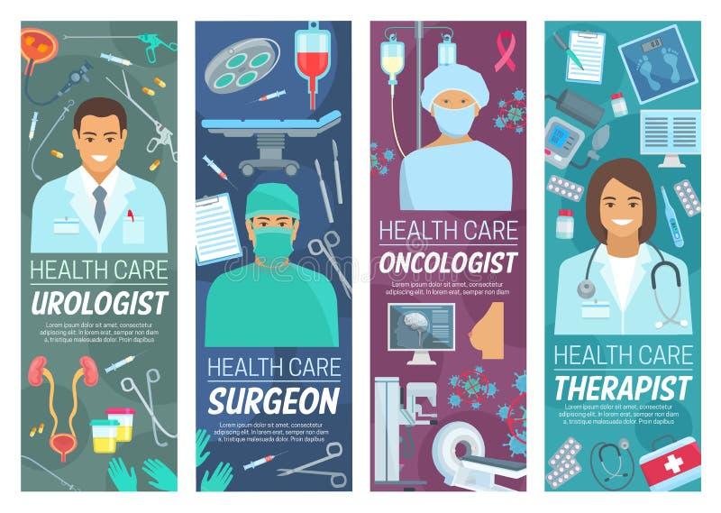 Urologist, cirurgião, oncologista, doutores do terapeuta ilustração royalty free
