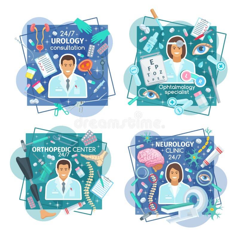 Urology, neurologi och ortopediska klinikdoktorer vektor illustrationer