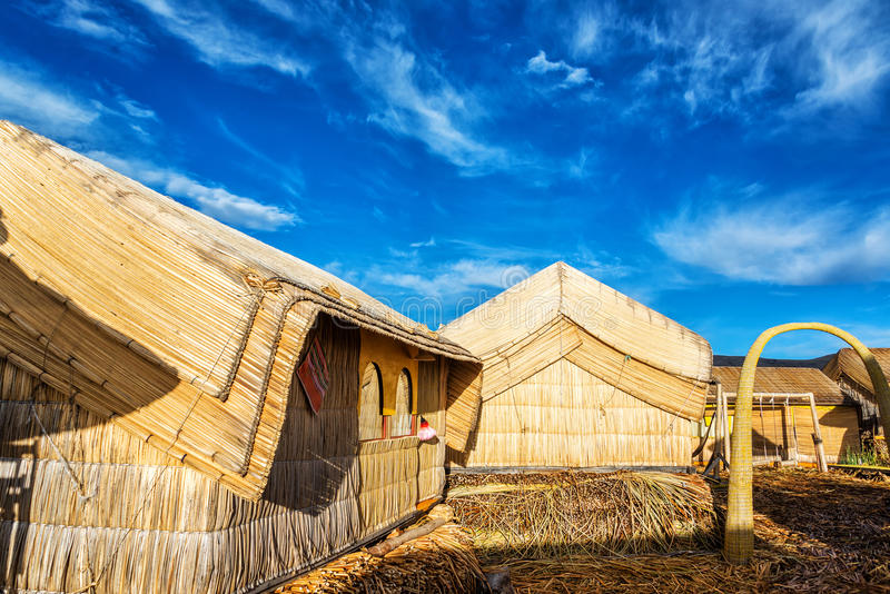 Uros Floating Islands Houses fotografie stock libere da diritti