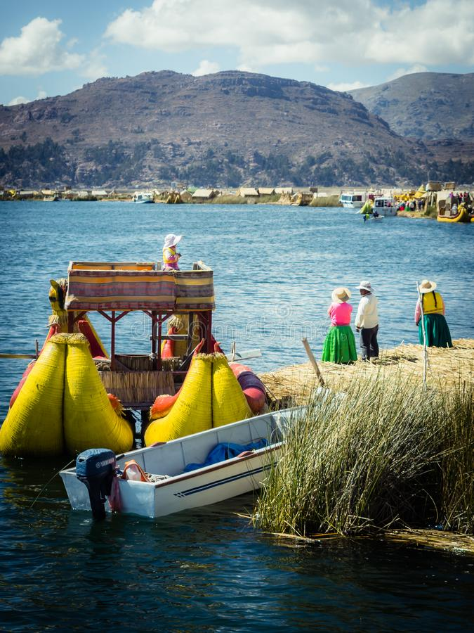 The Uros floating islands in lake Titicaca, Peru royalty free stock photography