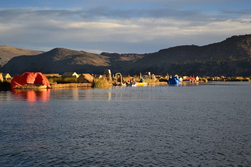 Uros floating islands,lake Titicaca, Peru stock photography