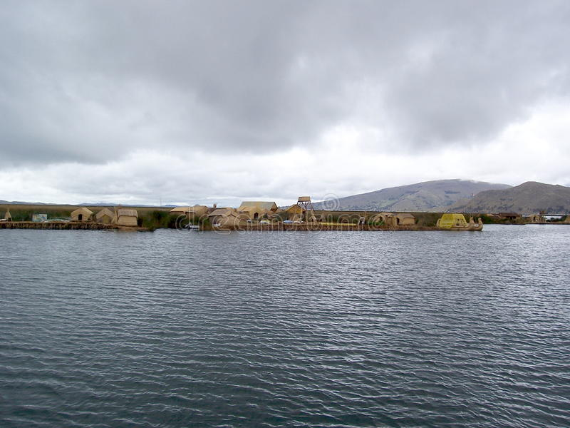 UROS ISLAND - LAKE TITICACA - PERU, January 3, 2007: Floating Uros Islands on Lake Titicaca, Peru. stock images