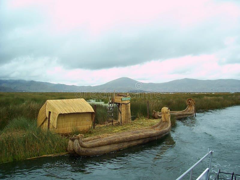 UROS ISLAND - LAKE TITICACA - PERU, January 3, 2007: Uros reed boat along floating island on Lake Titicaca, Peru. stock photo