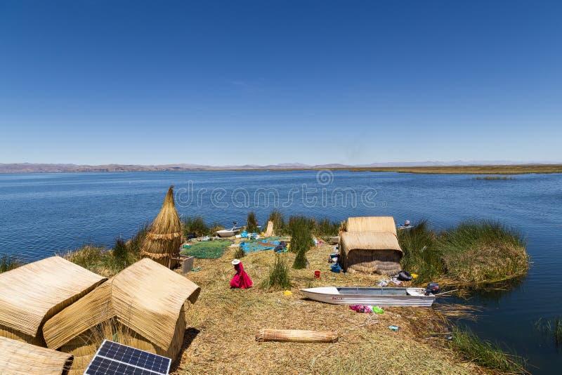 Uros Titino浮动海岛 库存图片
