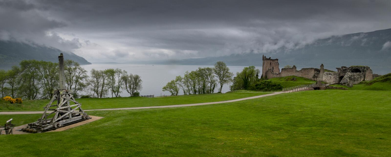 Urquhart Castle and Catapult stock photos