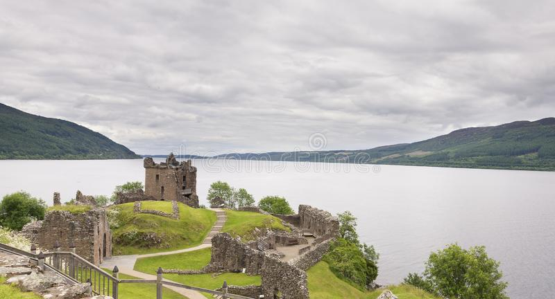 Urquhart Castle on Loch Ness landscape on grey cloudy day stock image