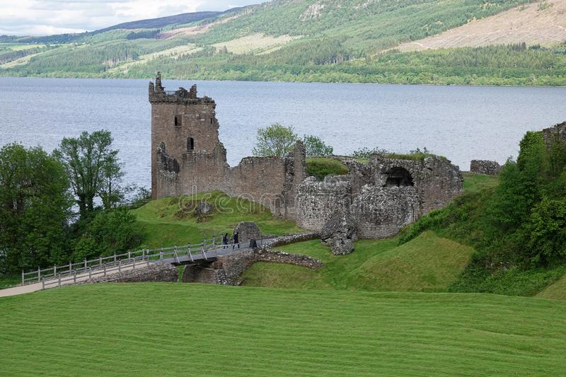 Urquhart Castle and Loch Ness, Scotland Scenic View During the Day royalty free stock image