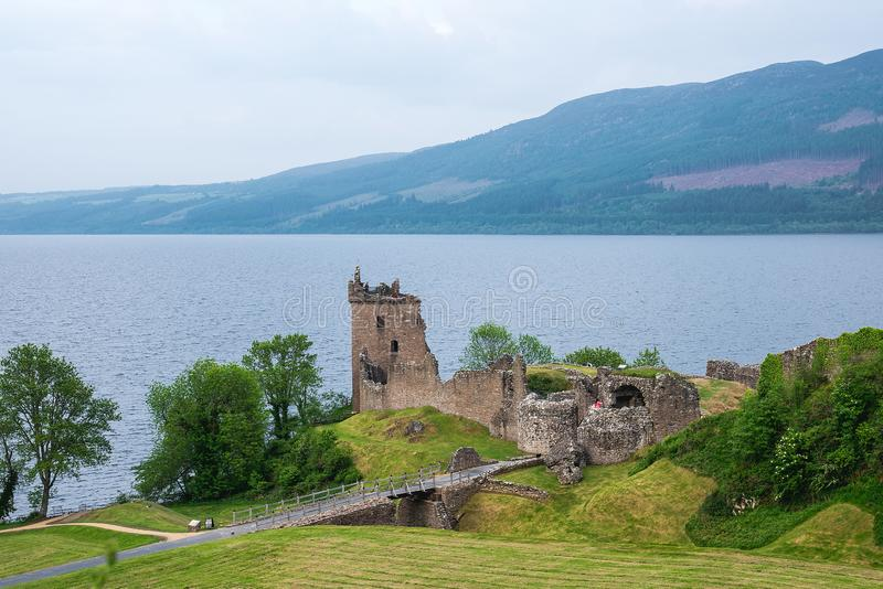 Urquhart Castle on Loch Ness lake, Scotland, UK. royalty free stock images