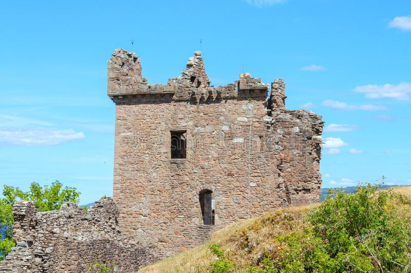 Urquhart Castle in the Scottish Highlands. Urquhart Castle sits on the shores of Loch Ness in the Scottish Highlands royalty free stock photos