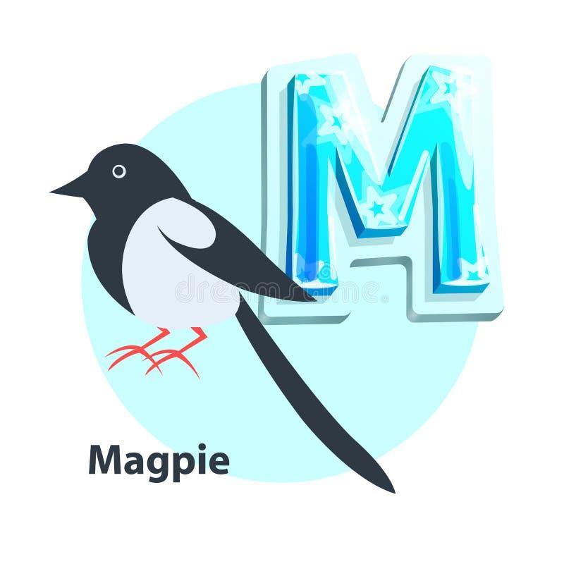 Urraca para M Letter en Entrecruzado-fila de los niños libre illustration