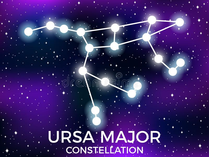 Ursa Major constellation. Starry night sky. Zodiac sign. Cluster of stars and galaxies. Deep space. Vector. Illustration vector illustration