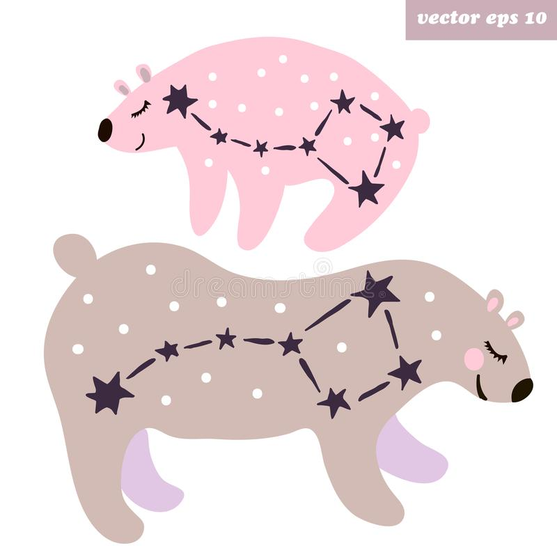 Ursa Major och Ursa Minor vektor illustrationer