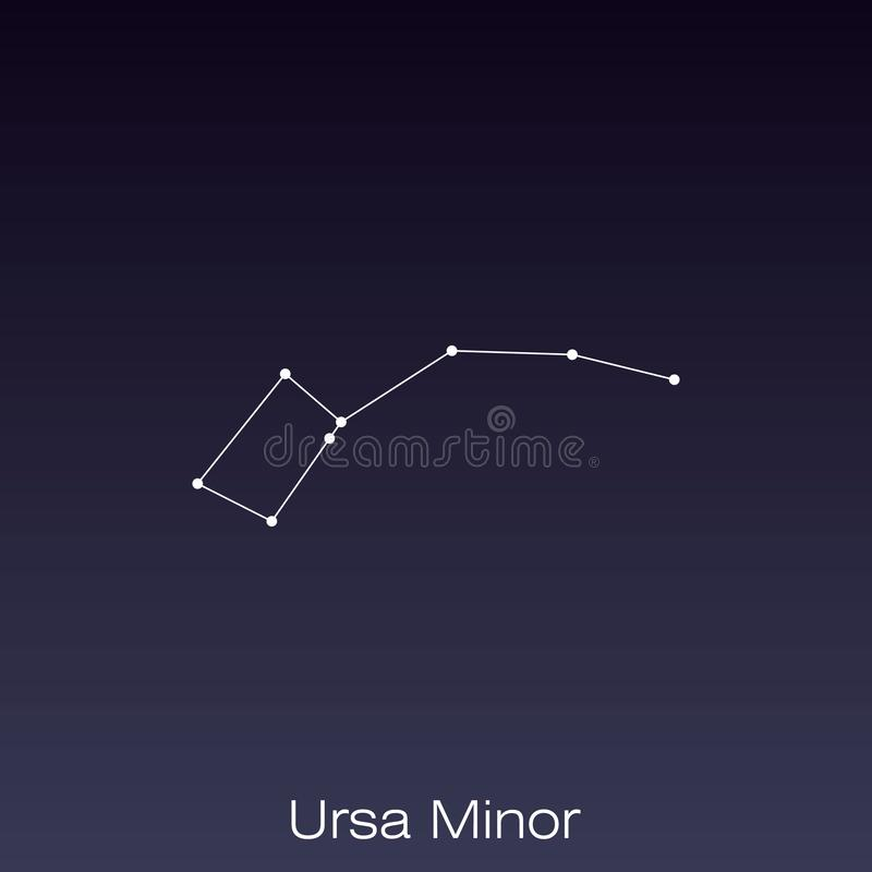 Constellation as it can be seen by the naked eye. Ursa Minor constellation as it can be seen by the naked eye vector illustration