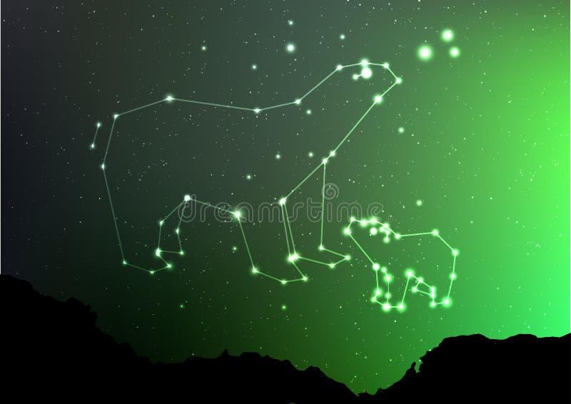 Ursa Minor e maggiore sul cielo del nigt con la foresta abbelliscono Sopporti nel poligon brillante della stella e della costella royalty illustrazione gratis