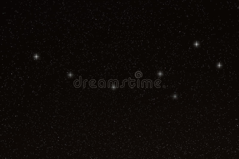 Ursa Minor, Little Dipper Constellation, Little Bear. Real image, night sky stock photo