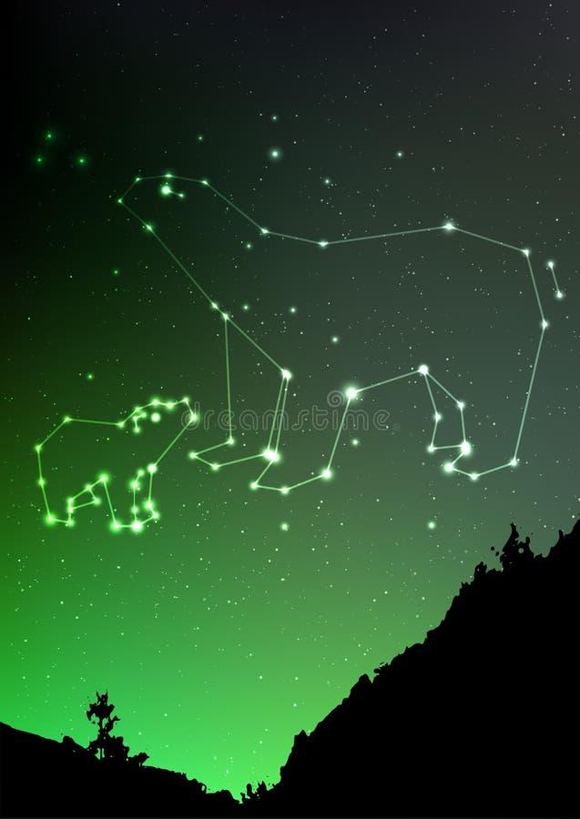 Ursa Minor och Major på natthimmel med skoglandskap stock illustrationer