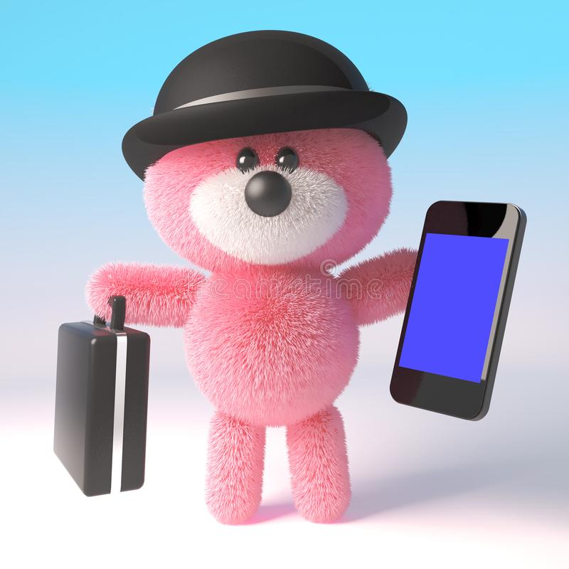Ursinho de pelúcia 3d, cor-de-rosa, com um chapéu de bowler, com uma maleta e um dispositivo de tablet smartphone, ilustração 3d ilustração royalty free