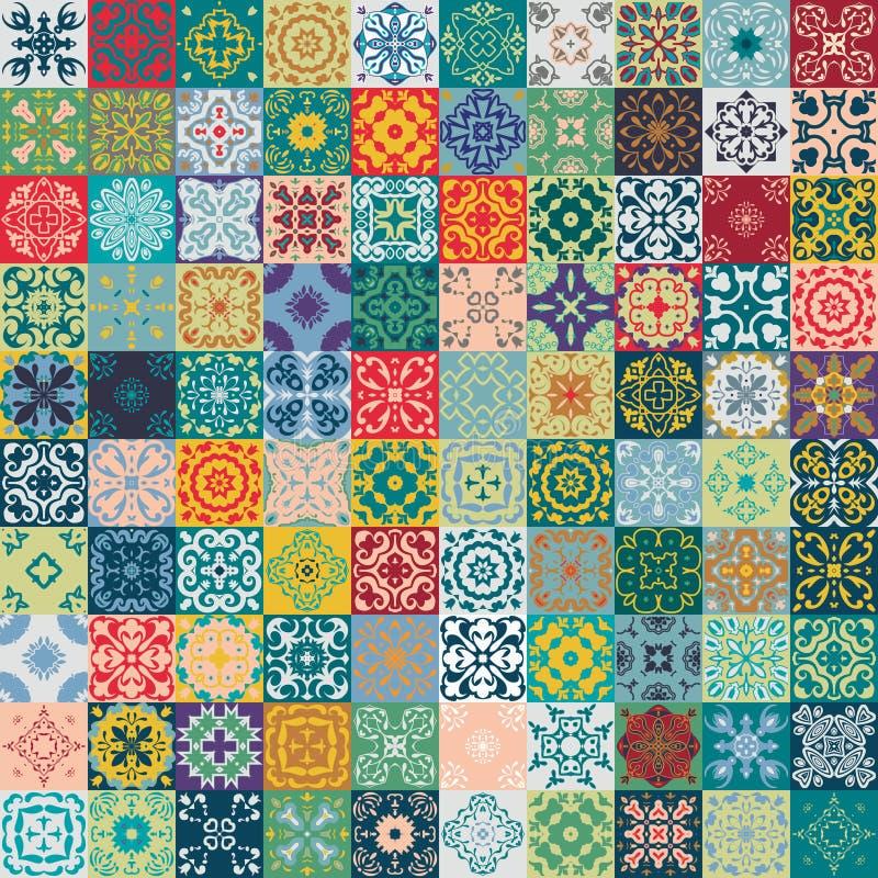 Ursnygg blom- patchworkdesign Marockanska eller medelhavs- fyrkanttegelplattor, stam- prydnader För tapettryck modellpåfyllningar vektor illustrationer