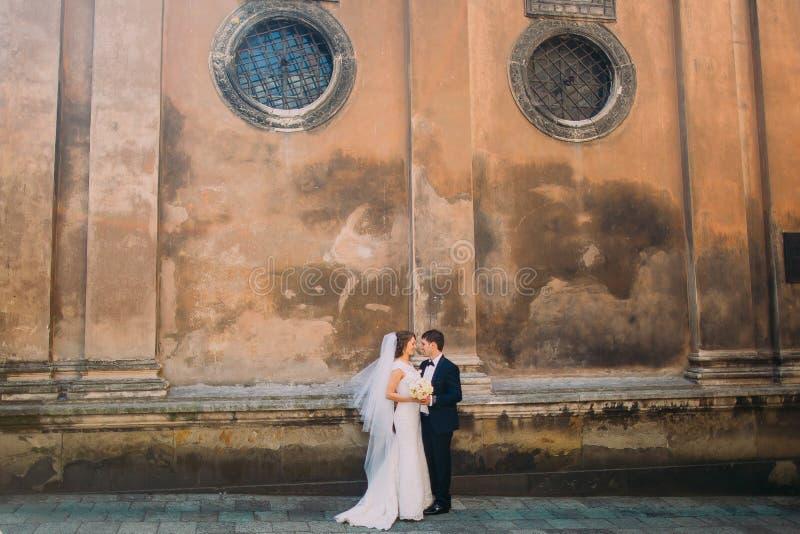 Ursnygg brud i den vita klänningen och stiliga brudgummen som ansikte mot ansikte rymmer den brud- buketten nära den bruna väggen arkivfoto
