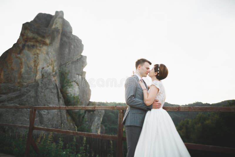 Ursnygg brud och stilfull brudgum som går på det soliga landskapet som gifta sig par, lyxiga ceremoniberg med fantastisk sikt royaltyfri bild