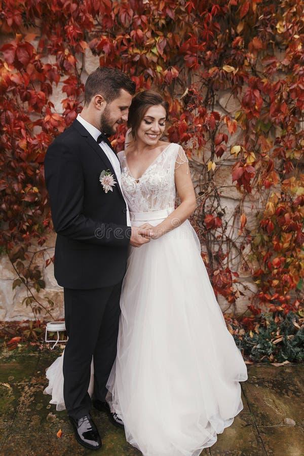 Ursnygg brud och stilfull brudgum som kramar och ler försiktigt på w royaltyfri bild