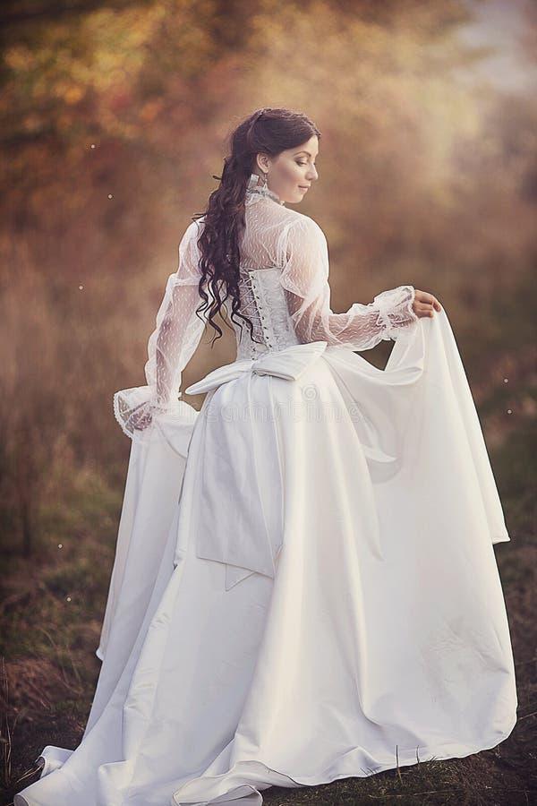 Ursnygg brunettskönhet i en gammalmodig klänning royaltyfri foto
