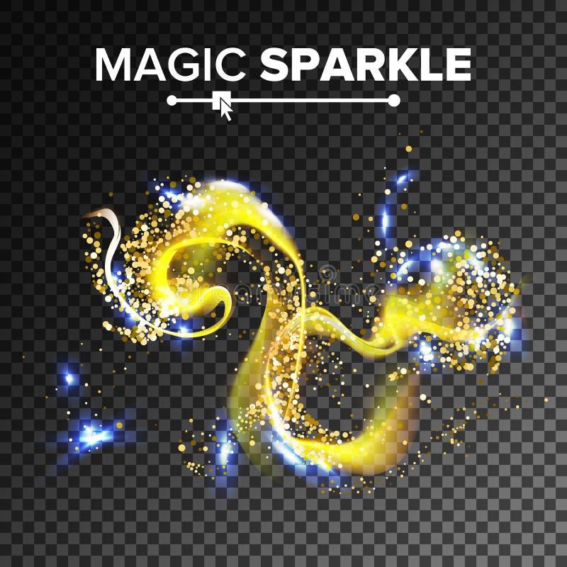 Ursnygg brusandeeffektvektor Flyga blänka damm i luften Guld- partikelslinga Isolerat på genomskinligt royaltyfri illustrationer