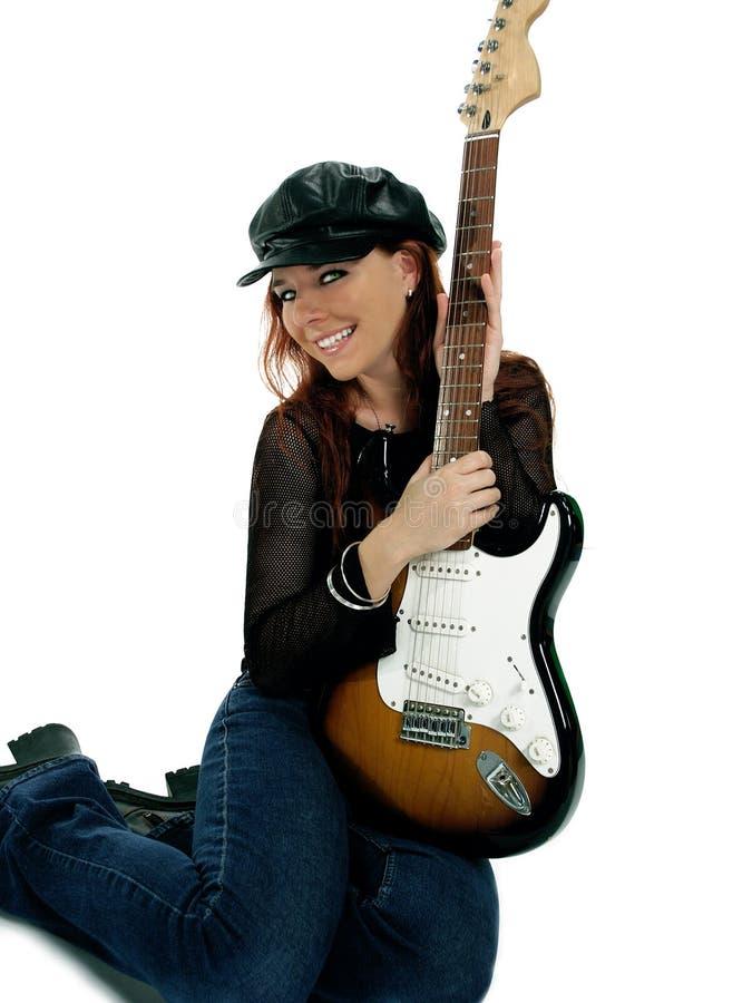 ursnygg gitarrist royaltyfri fotografi