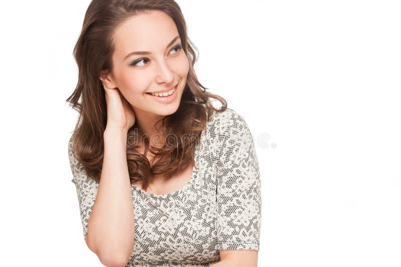 Ursnygg lycklig brunettkvinna royaltyfri bild