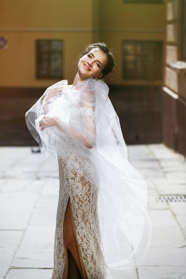 Ursnygg lycklig le brunettbrud i vitt klänningpos. för tappning royaltyfri bild