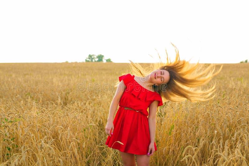 Ursnygg romantisk flicka utomhus Härlig modell i kort röd klänning i fält slående lång wind för hår Backlit royaltyfri foto