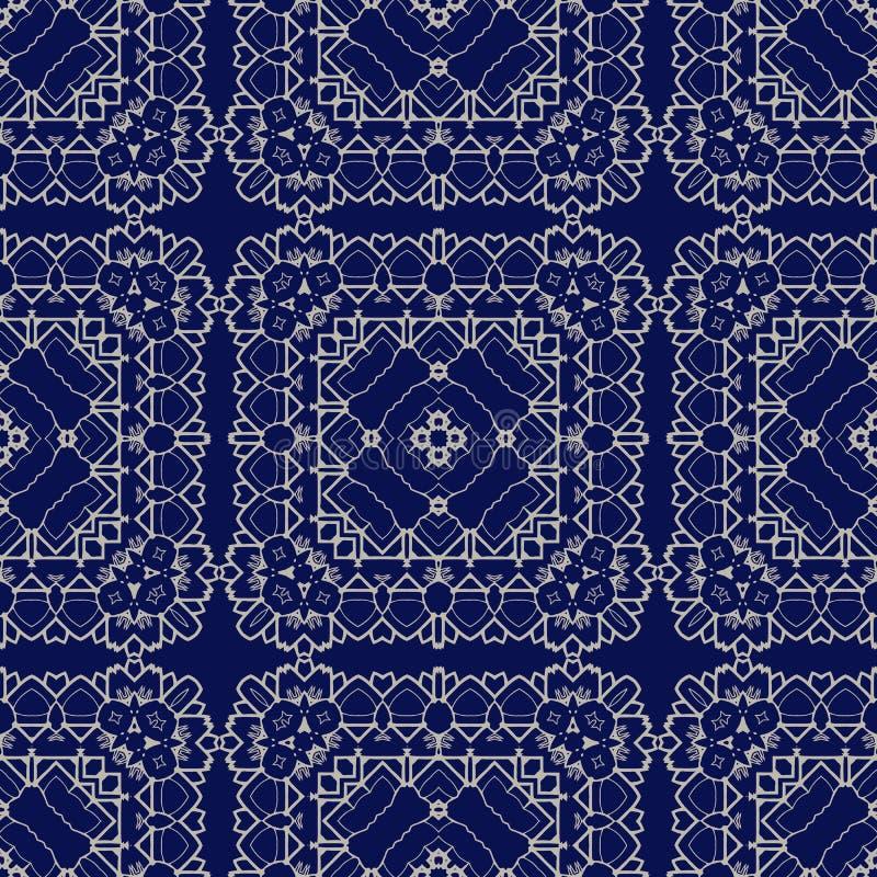 Ursnygg sömlös modell Azulejo stock illustrationer