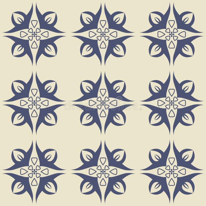 Ursnygg sömlös modell från mörker - vita blom- prydnader för blått och vektor illustrationer
