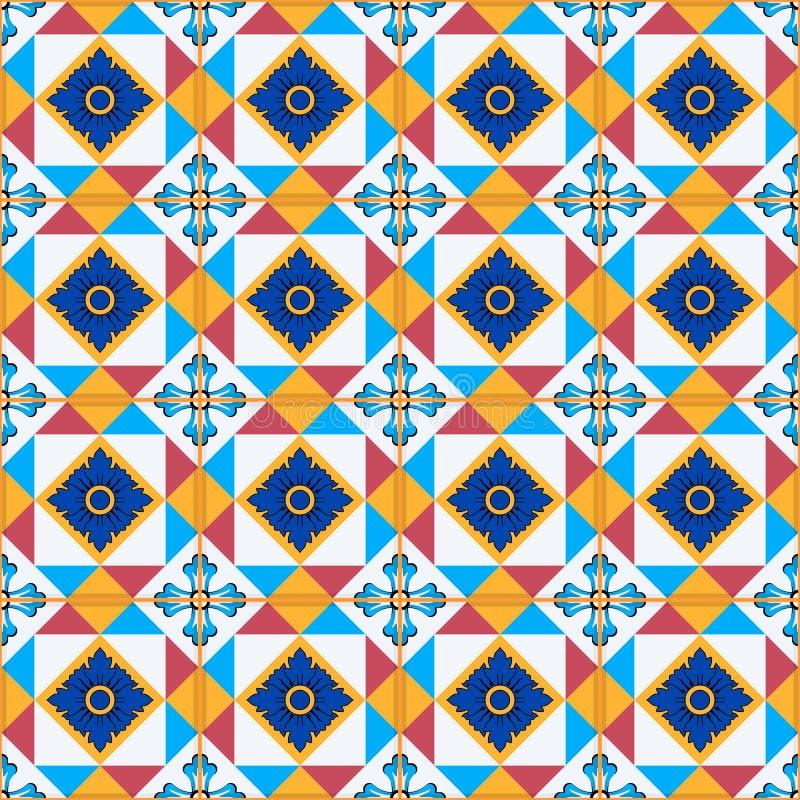 Ursnygg sömlös modell från marockanskt, portugistegelplattor, Azulejo, prydnader vektor illustrationer