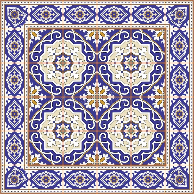 Ursnygg sömlös modell från tegelplattor och gränsen Marockanskt portugisiskt, Azulejo prydnader vektor illustrationer
