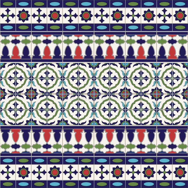 Ursnygg sömlös modell från tegelplattor och gränsen Marockanskt portugisiskt, Azulejo prydnader royaltyfri illustrationer