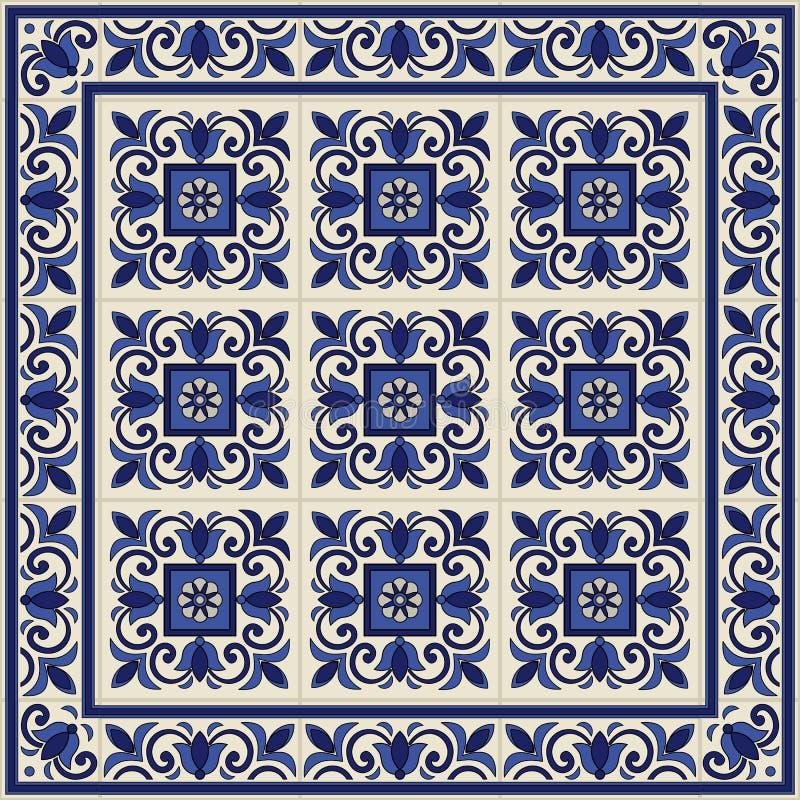 Ursnygg sömlös modell från tegelplattor och gränsen Marockanskt portugisiskt, Azulejo prydnader stock illustrationer