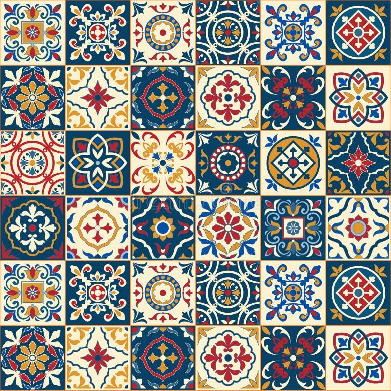 Ursnygg sömlös modell Marockanskt portugistegelplattor, Azulejo, prydnader stock illustrationer