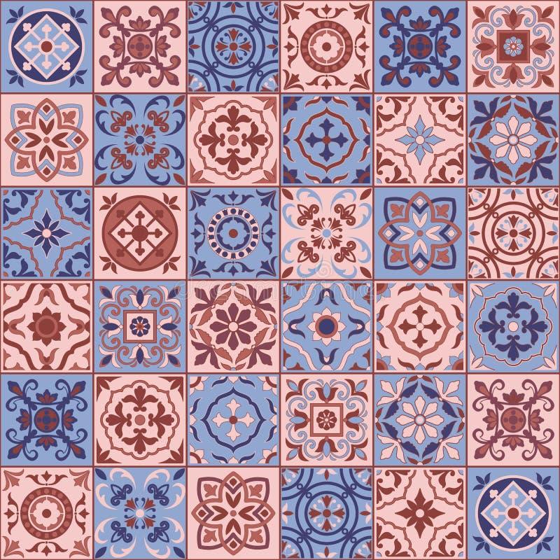 Ursnygg sömlös modell vita marockanska Rose Quartz och serenitetfärger, portugistegelplattor, Azulejo, prydnader vektor illustrationer