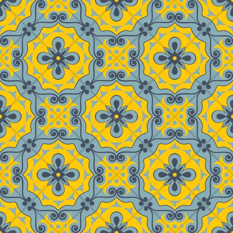 Ursnygg sömlös patchworkmodell från blått och gula marockanska tegelplattor, prydnader royaltyfri illustrationer