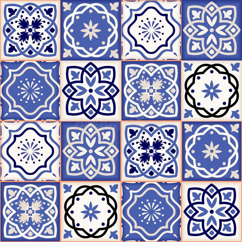 Ursnygg sömlös patchworkmodell från färgrika marockanska tegelplattor stock illustrationer