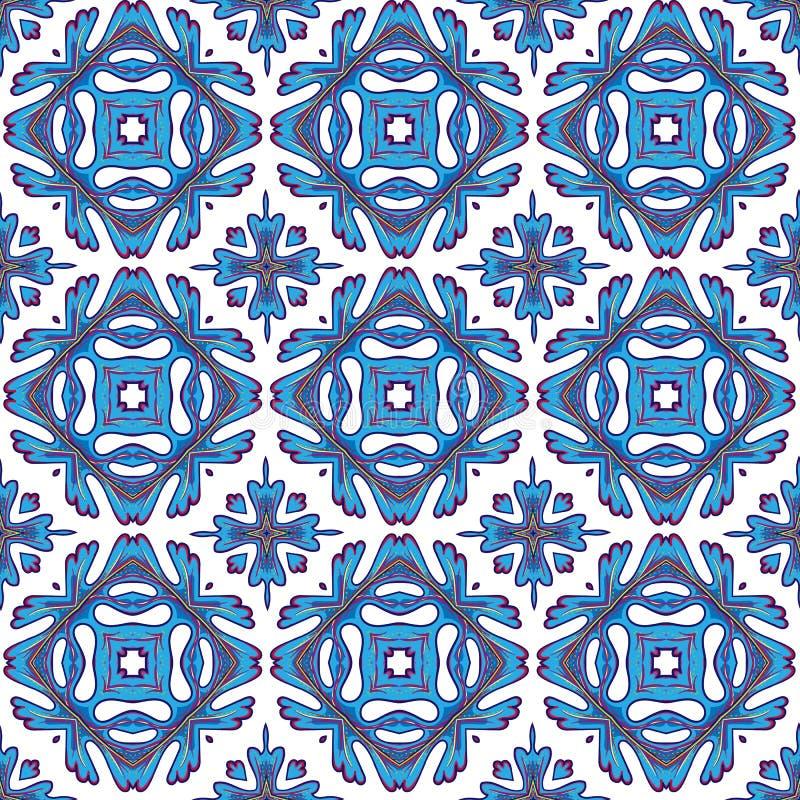 Ursnygg sömlös patchworkmodell från färgrika marockanska tegelplattor, prydnader vektor illustrationer