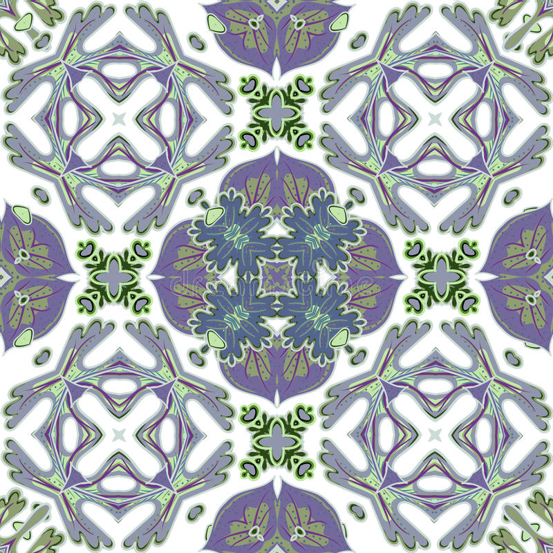 Ursnygg sömlös patchworkmodell från färgrika marockanska tegelplattor, prydnader stock illustrationer