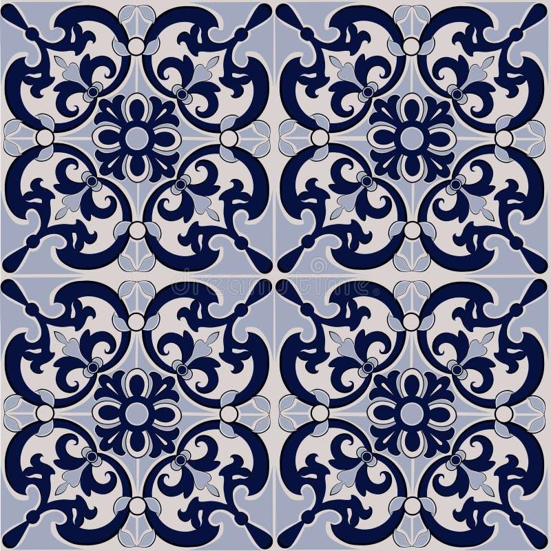 Ursnygg sömlös patchworkmodell från mörker - blått- och vittegelplattor, prydnader vektor illustrationer
