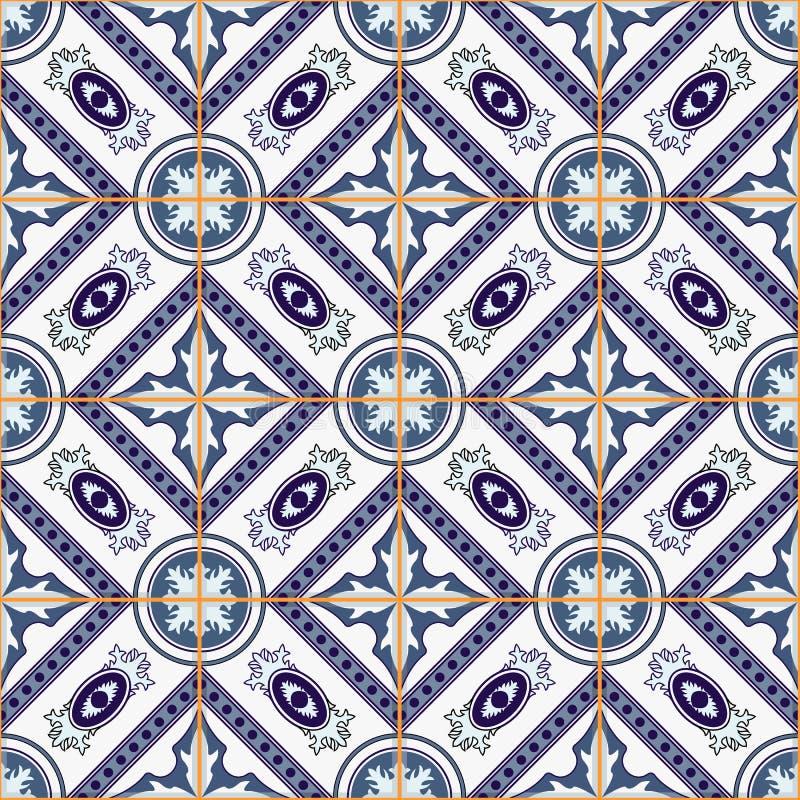 Ursnygg sömlös patchworkmodell från mörker - vit marockanskt för blått och, portugistegelplattor, Azulejo, prydnader stock illustrationer