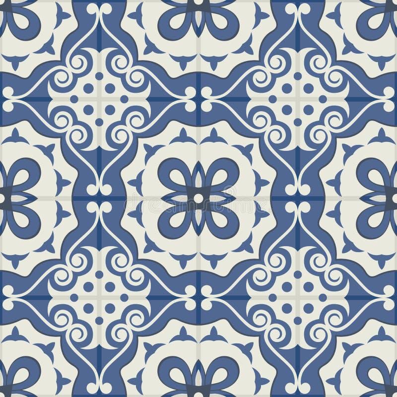 Ursnygg sömlös patchworkmodell från mörker - vita marockanska tegelplattor för blått och, prydnader stock illustrationer