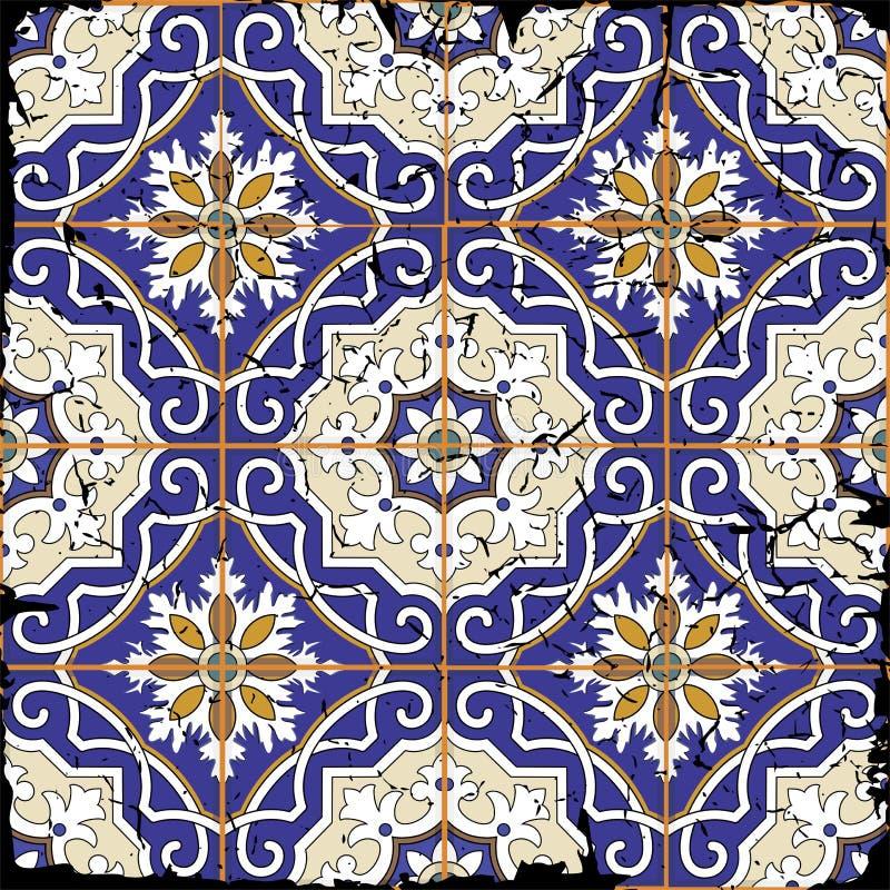 Ursnygg sömlös patchworkmodell från marockanska tegelplattor för grunge royaltyfri illustrationer
