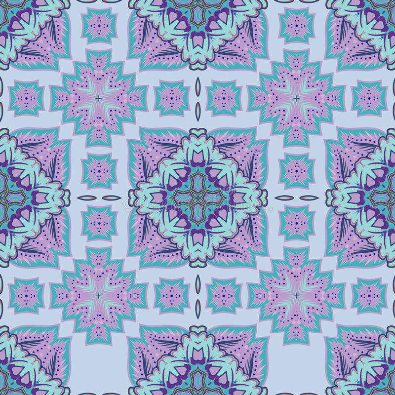Ursnygg sömlös patchworkmodell från marockanska tegelplattor, prydnader vektor illustrationer