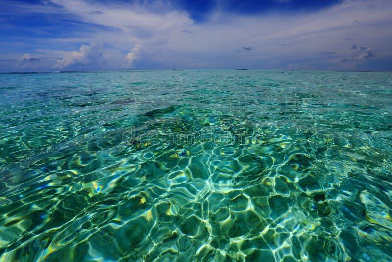 Ursnygg sikt av horisontlinjen Turkosvatten av Indiska oceanen och blå himmel med vita moln Fantastiska naturbakgrunder royaltyfri fotografi